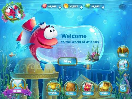 Atlantis ruins with fish rocket - menu GUI