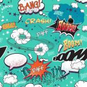 Bezešvá textura pro pozadí na stránce obrázek prvky komiksů s bublinami pro řeč, různé zvuky a šipky