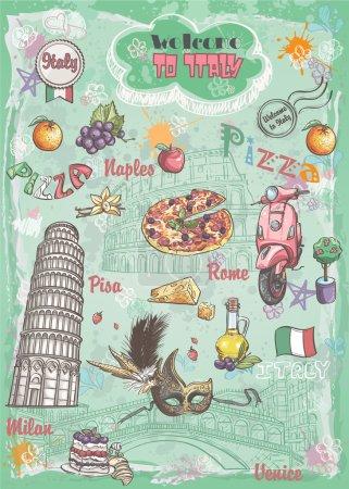 Illustration pour Un ensemble de sites touristiques en Italie, l'architecture, la nourriture, les transports, les articles - image libre de droit