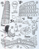 A set of sights in Italy, architecture, food, transportation, items. black contour