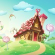 Illustration of sweet house of cookies and candy o...