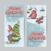 Set of vertical banners for Christmas and the new year with a picture of an elf and Bullfinch on a branch
