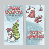 Set of vertical banners for Christmas and the new year with a picture of a snowman and bullfinch on the branch