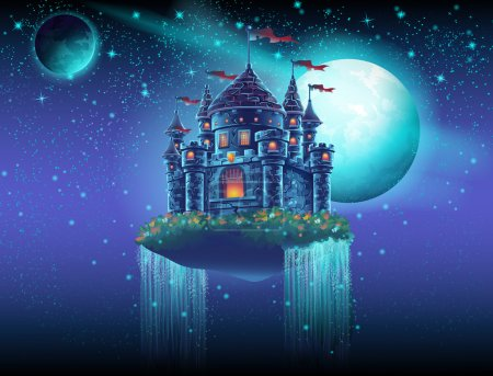 Illustration for Illustration of a flying castle space with waterfalls on the background of stars and planets - Royalty Free Image