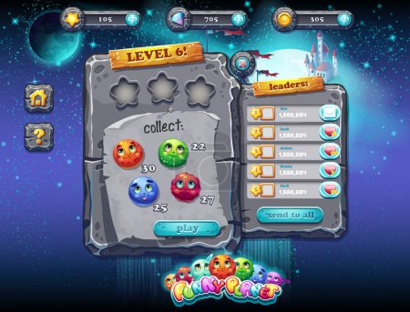 Illustration fabulous space with planets and funny examples of window decoration of the user interface for computer games and web design with buttons, prizes, levels and other elements. Set 1.