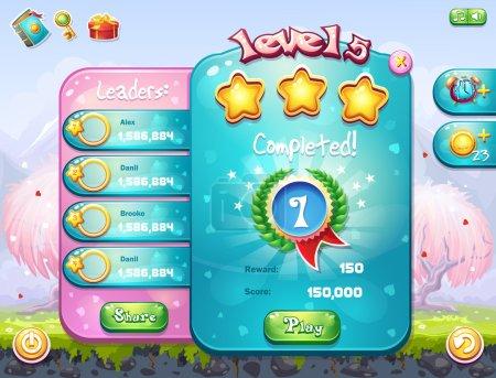 Illustration pour Exemple de la fenêtre de jeu avec le niveau d'achèvement pour les jeux informatiques sur le thème de la Saint-Valentin - image libre de droit