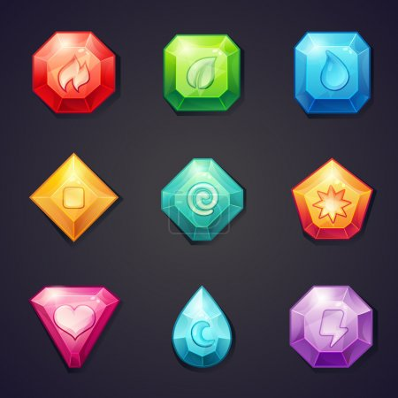 Set of cartoon colored stones with different signs element for use in the game, three in a row