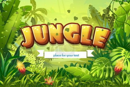 Illustration for Illustration cartoon jungle with inscription and ribbon - Royalty Free Image