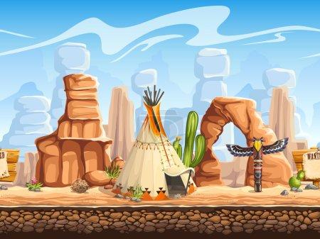 Tileable horizontal background wild west. Set3
