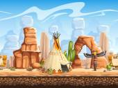 Tileable horizontal background wild west Set3