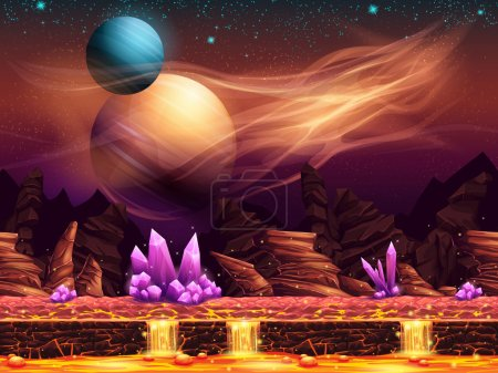 Illustration for Illustration of a fantastic landscape of the red planet with purple crystals, horizontal seamless texture for the game design - Royalty Free Image