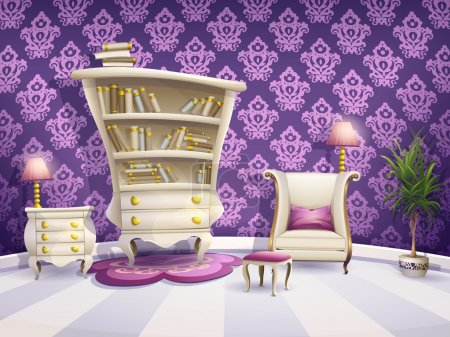 Illustration of a cartoon book cabinet with white furniture for little princesses