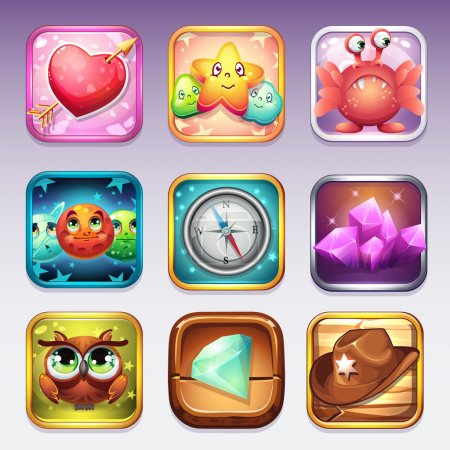 Set icons for app store and Google Play to computer games on various topics