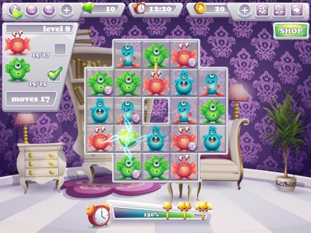 Example of the window of the playing field and the interface computer game monsters and Web Design
