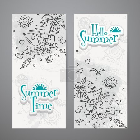 Two sides of a postcard with summer time doodles