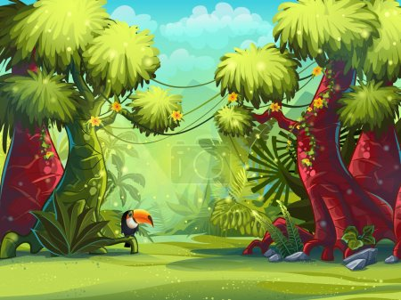 Illustration for Illustration sunny morning in the jungle with bird toucan - Royalty Free Image