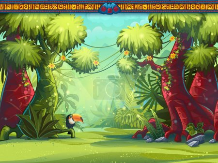 Illustration for Illustration of a toucan jungle and Mayan writing - Royalty Free Image