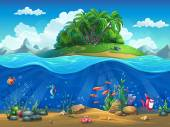 Cartoon underwater world with fish plants island