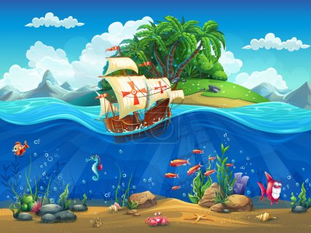 Illustration for Cartoon underwater world with fish, plants, island and caravel - Royalty Free Image