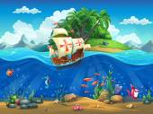 Cartoon underwater world with fish plants island and caravel