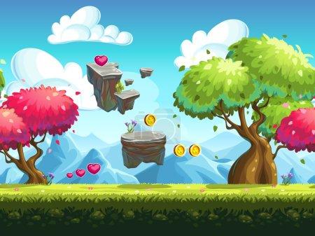 Illustration pour Fond sans couture rochers volants et arbres colorés dans la forêt sur fond de montagnes - image libre de droit