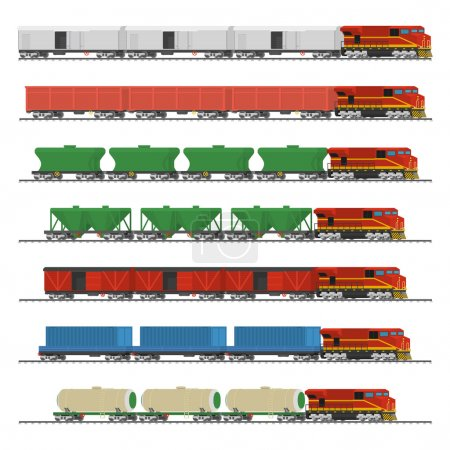 Essential Trains. Collection of freight railway cars. Isolated on white background. Vector illustration