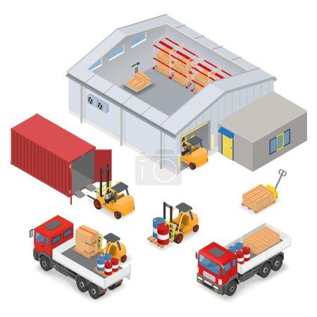 Illustration pour Intérieur d'entrepôt isométrique, à l'intérieur des échelles industrielles, supports de stockage. Les zones adjacentes sont les camions, les chariots élévateurs, les conteneurs et les bureaux illustration vectorielle - image libre de droit