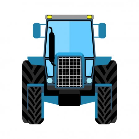Blue wheeled tractor on a white background...