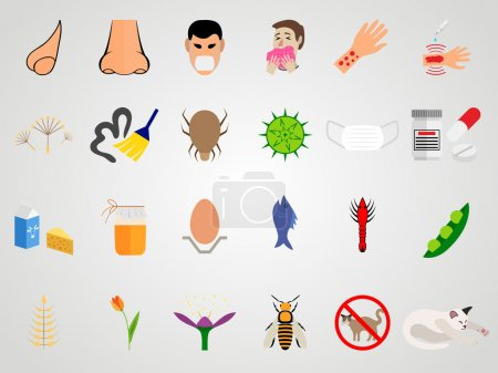 Set icons of allergy in a flat design