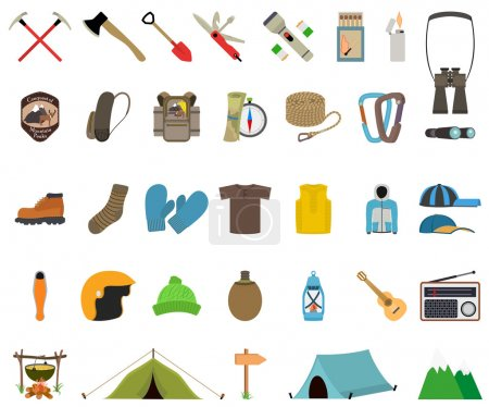 Illustration for Mountain hiking and climbing vector icon set. No transparency. No gradients - Royalty Free Image