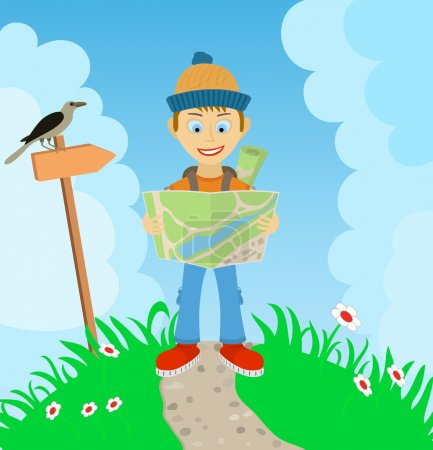 Illustration for Young boy tourist with a backpack, check the route on the map - No transparency. No gradients - Royalty Free Image