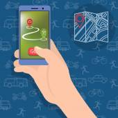 A hand holding a smartphone The concept of choice of transport from home to work On foot by car or on public transport Contour seamless pattern with bus tram car motorcycle bike and man