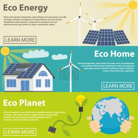 Illustration for Eco energy horizontal banner set with green home planet flat elements isolated vector illustration - Royalty Free Image