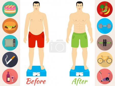 Fitness and sport, healthy lifestyle, men before and after the diet and fitness