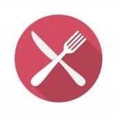 Vidlička a nůž ikona s dlouhý stín