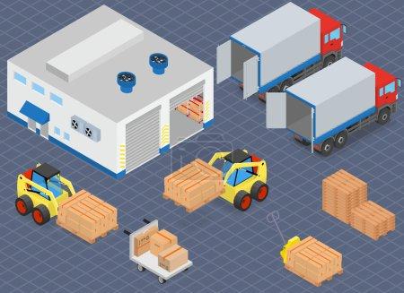 Illustration pour Chargement ou déchargement d'un camion dans l'entrepôt. Les chariots élévateurs déplacent la cargaison. Équipement d'entrepôt. Illustration vectorielle isométrique . - image libre de droit