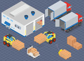 Loading or unloading a truck in the warehouse Forklifts move the cargo