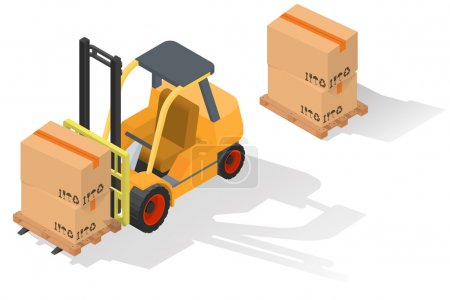 Isometric forklift truck with barrel on wooden pallet.