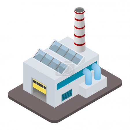Illustration for Vector isometric factory building icon - Royalty Free Image