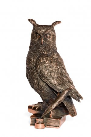 Statuette bronze owl with feather and books