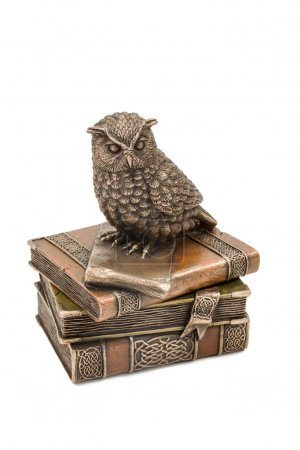 Statuette owl sitting on books