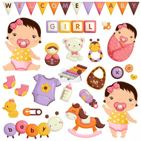 Baby Girl Vector Set