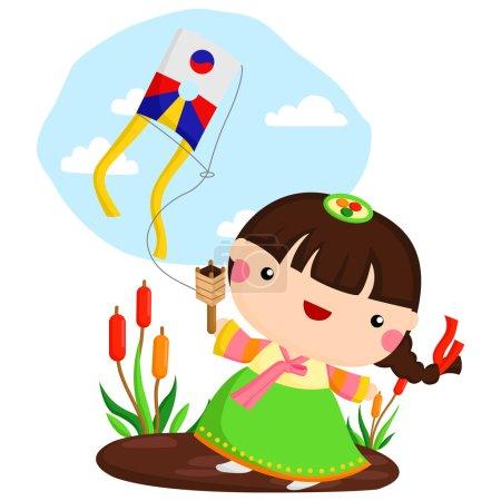 Korean Girl Playing Kite