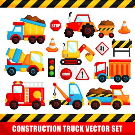 Illustration for Construction Truck Vector Set - Royalty Free Image