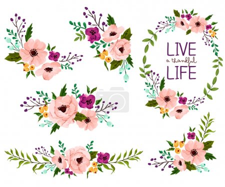 Illustration for Flower Watercolor Vector Set - Royalty Free Image