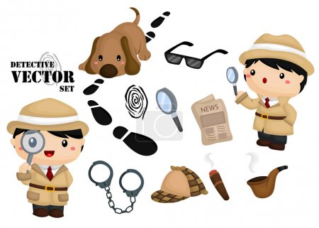 Illustration for Detective Vector Set - Royalty Free Image