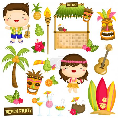Hawaii Kids Vector Set
