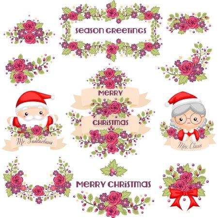 Illustration pour M. et Mme Claus avec une couronne de Noël romantique - image libre de droit