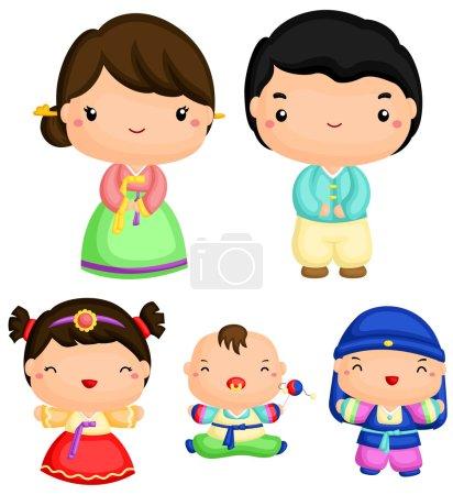 Korean Family Vector Set