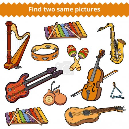 Find two same pictures. Vector set of musical instruments